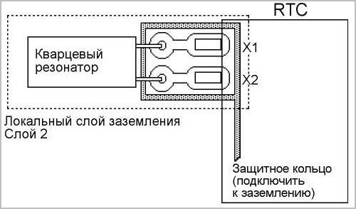 Схема подключения кварца