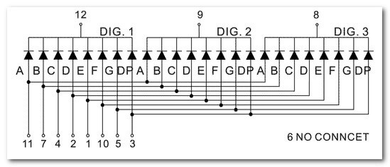 Соединение выводов многоразрядных семисегментных индикаторов