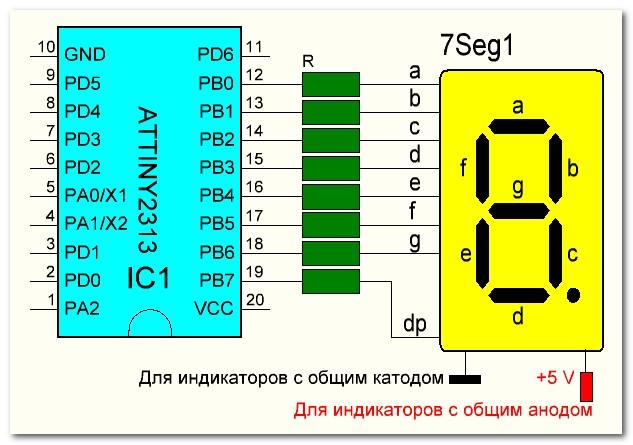 Подключение семисегментного индикатора к микроконтроллеру