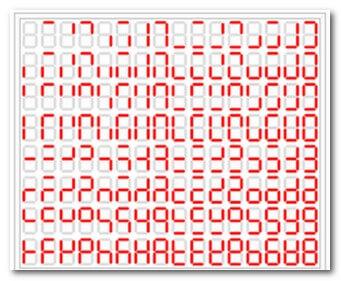 Таблица состояния сегментов семисегментного индикатора