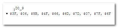 Массив двоичных кодов цифр