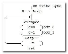 Передача байта информации в DS18B20