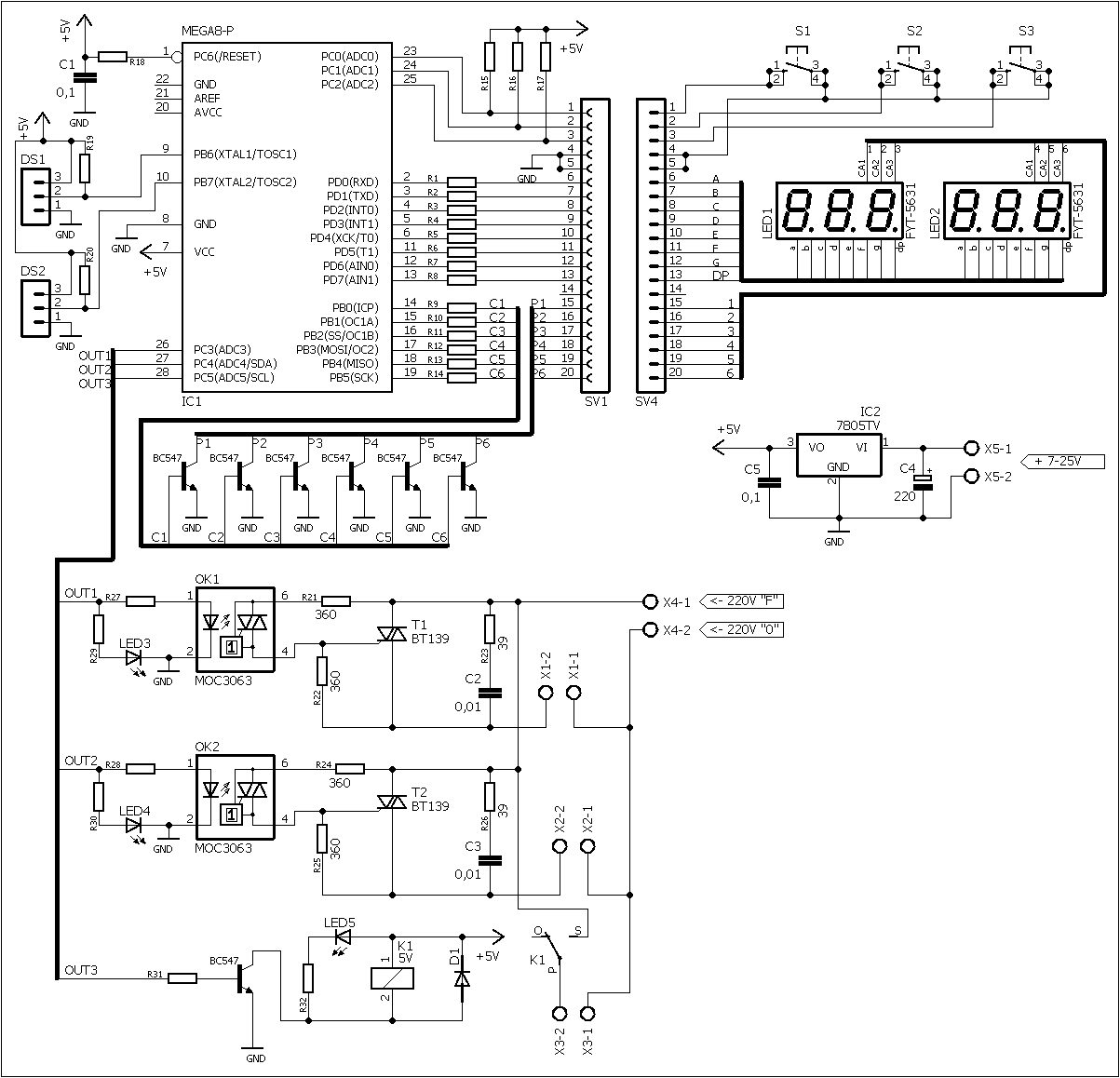Схема трехканального термостата, терморегулятора, таймера на ATmega8
