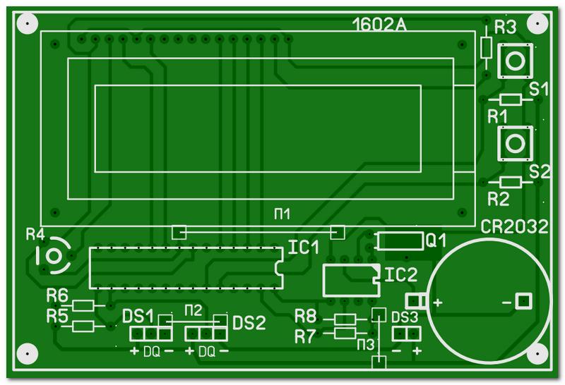 Печатная плата двухканального термометра с часами
