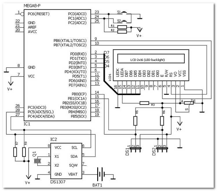 Схема двухканального термометра и часов на ATmega8