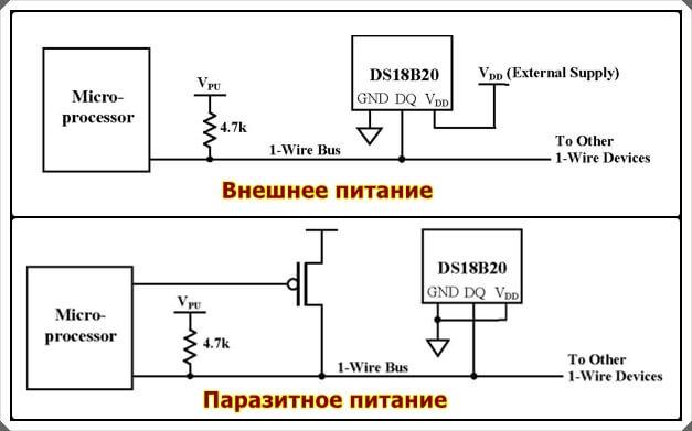 Внешнее и паразитное питание DS18B20