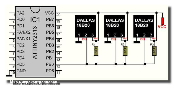 Подключение датчика DS18B20 к микроконтроллеру