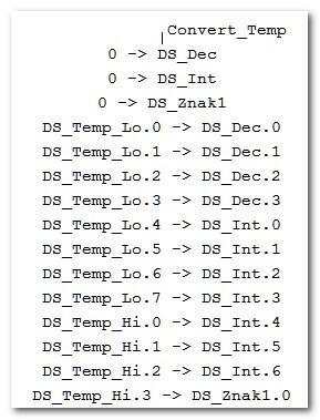 Разделение целых и десятых градуса DS18B20