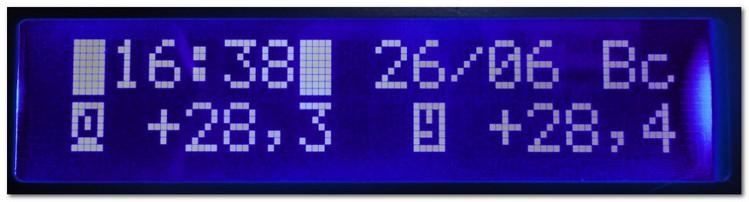 Двухканальный термометр и часы на ATmega8, LCD