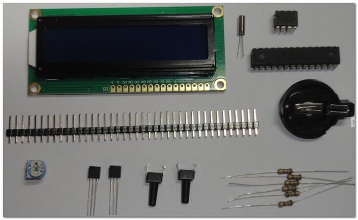 Набор для сборки двухканального термометра и часов на ATmega8 и LCD1602