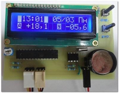 Двухканальный термометр часы на ATmega8 и LCD