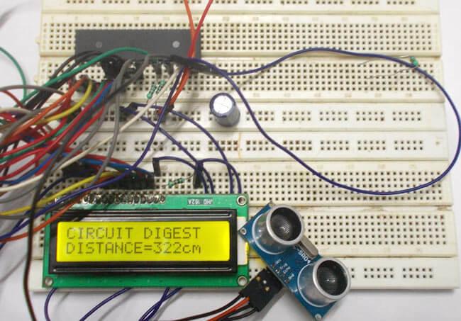 Измерение расстояний с помощью микроконтроллера AVR и датчика HC-SR04: внешний вид конструкции