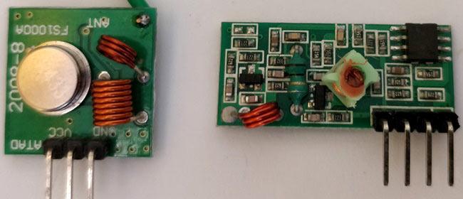 Внешний вид передающей и приемной части радиочастотного модуля на 433 МГц