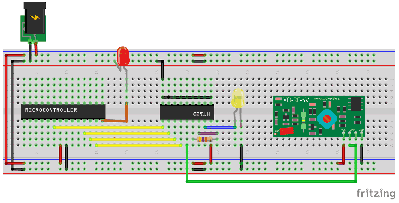 Схема соединений микроконтроллера AVR ATmega8 с приемной частью радиочастотного модуля