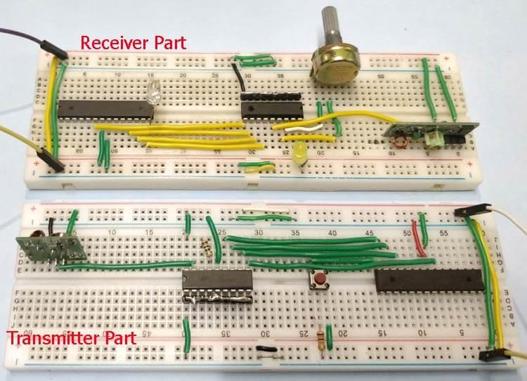 Схема для связи двух микроконтроллеров AVR ATmega8 через радиочастотный модуль