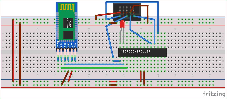 Схема подключения Bluetooth-модуля HC-05 к микроконтроллеру AVR ATmega8