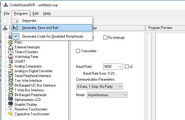 Выбор опций сохранения в CodeVision
