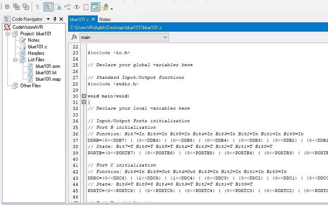 Фрагмент кода программы в CodeVision