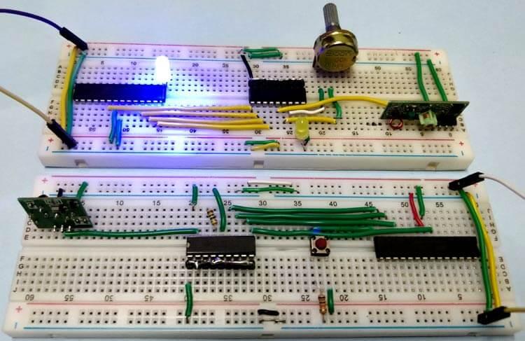 Связь двух микроконтроллеров AVR ATmega8 через радиочастотный модуль: внешний вид