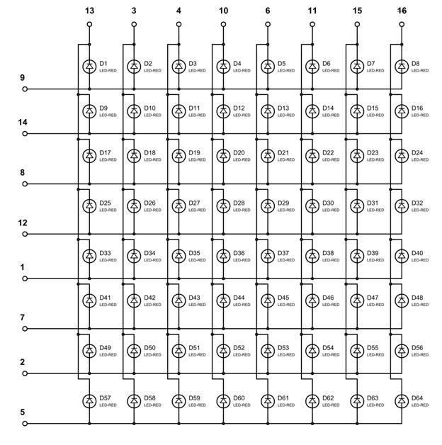 Внутренняя схема соединений в светодиодной матрице