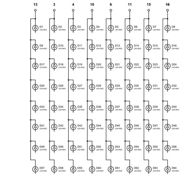 Общие выводы для столбцов светодиодной матрицы