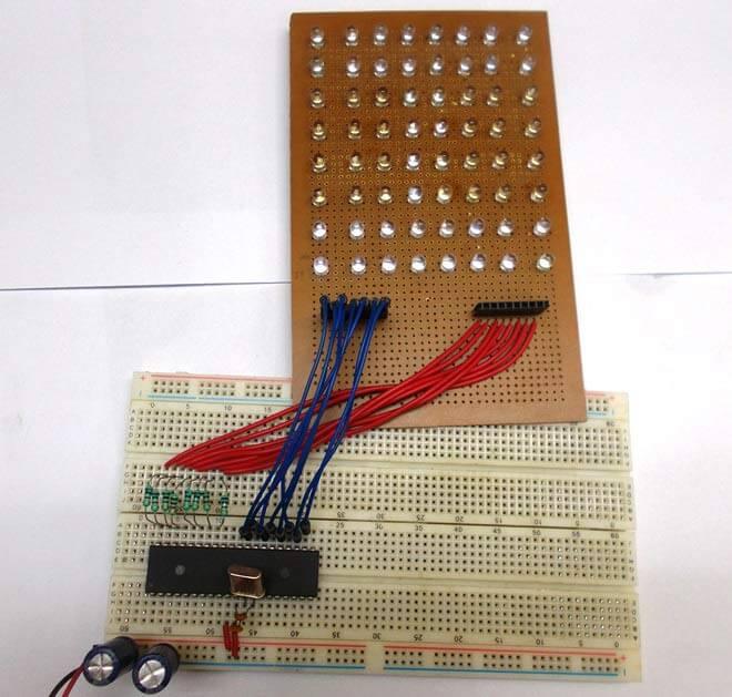 Скроллинг текста на светодиодной матрице 8х8 под управлением микроконтроллера AVR: внешний вид конструкции