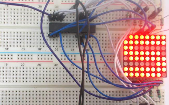 Подключение светодиодной матрицы 8х8 к микроконтроллеру AVR: внешний вид