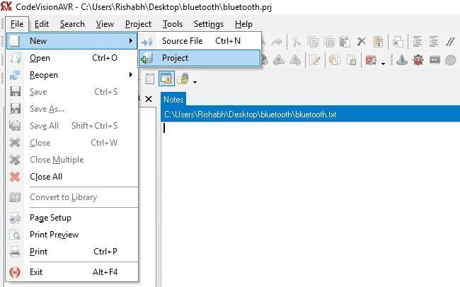 Создание нового проекта в CodeVision