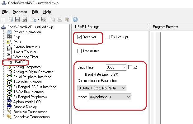 Выбор параметров последовательного порта в CodeVision