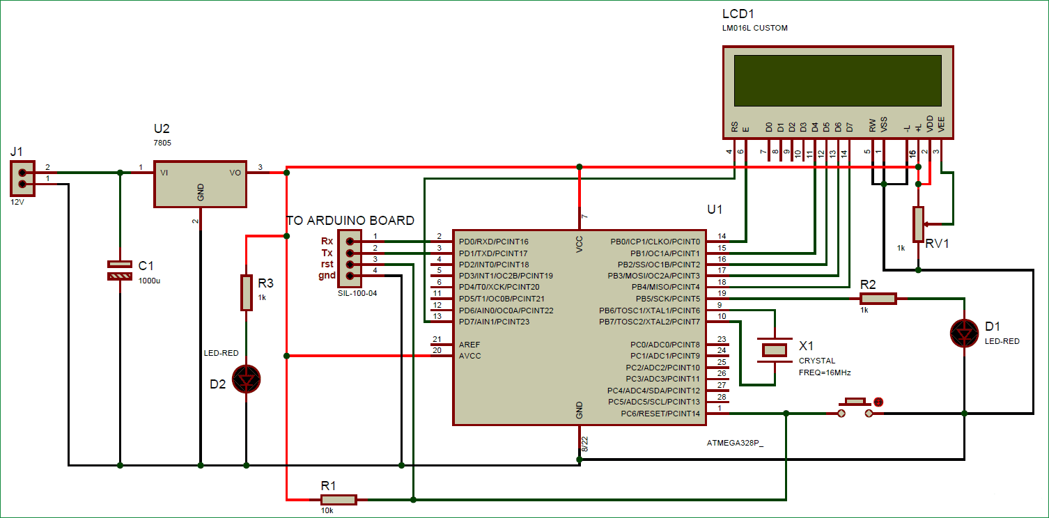 Схема соединений для собственной платы Arduino