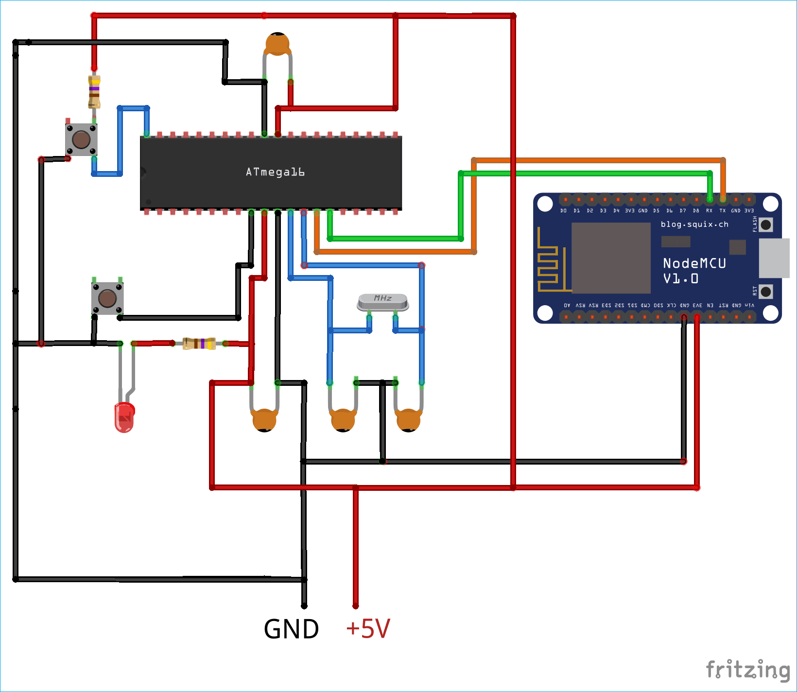 Схема подключения ESP8266 к микроконтроллеру ATmega16