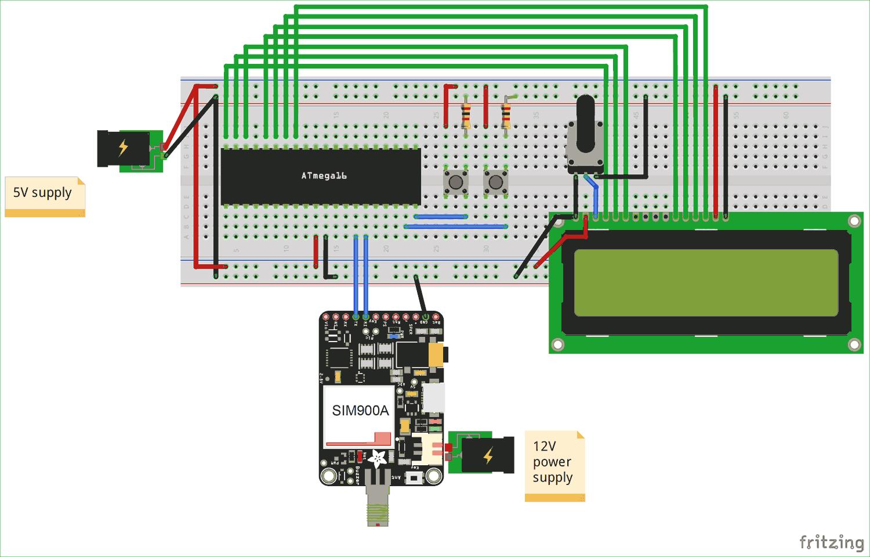 Подключение GSM модуля к микроконтроллеру AVR ATmega16: схема соединений