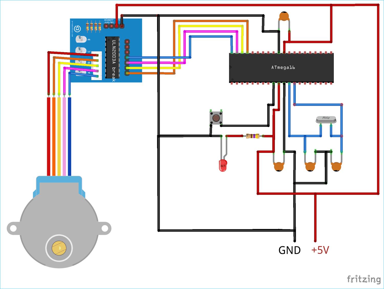 Подключение шагового двигателя к ATmega16 с использованием ULN2003