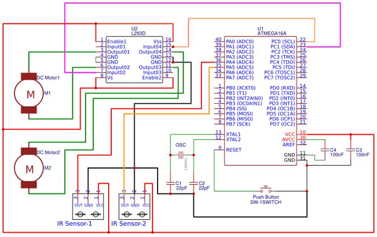 Движущийся вдоль линии робот на микроконтроллере AVR ATmega16: схема соединений