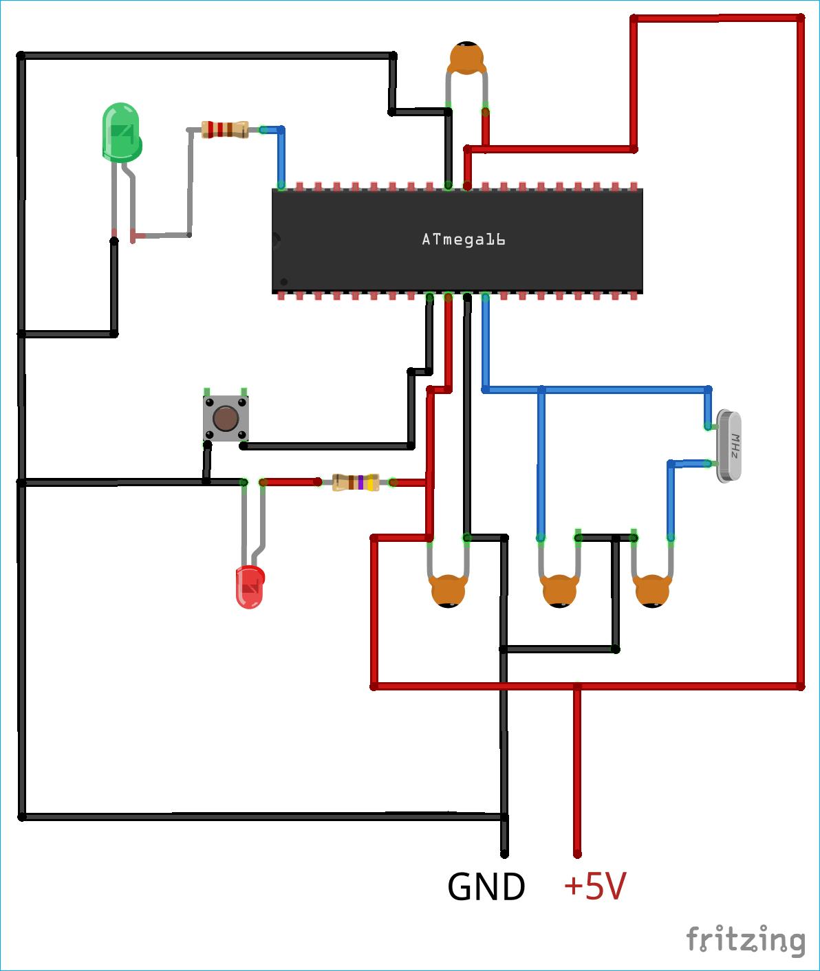 Схема конструкции с мигающим светодиодом