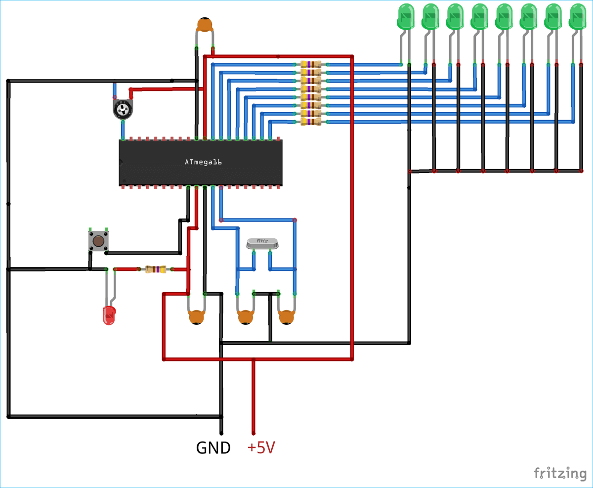 Схема устройства для проверки АЦП в микроконтроллере ATmega16