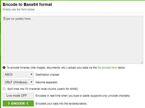 Главная страница сайта https://www.base64encode.org/