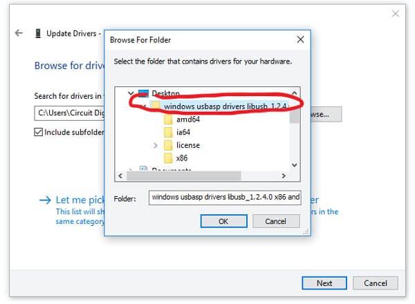 Выбор папки с драйвером для USBASP