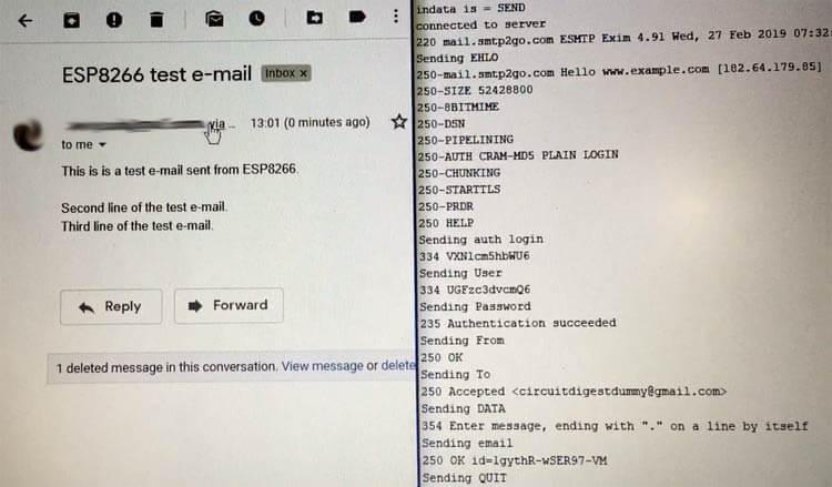 Результат передачи тестового Email