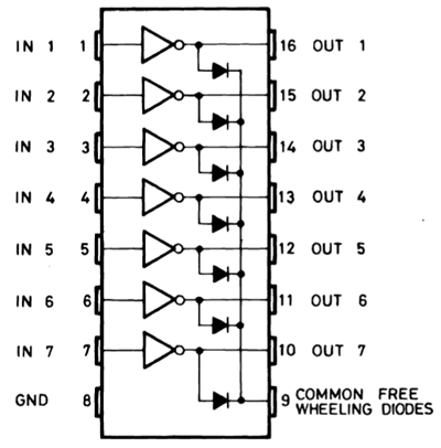 Назначение контактов микросхемы ULN2003
