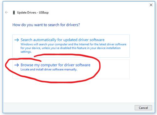 Выбор способа обновления драйвера для USBasp