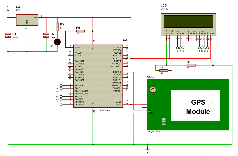 Схема подключения GPS модуля к микроконтроллеру AVR ATmega16/32