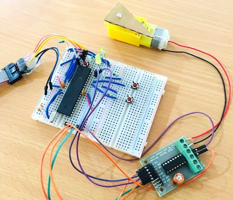 Подключение двигателя постоянного тока к микроконтроллеру AVR ATmega16: внешний вид конструкции