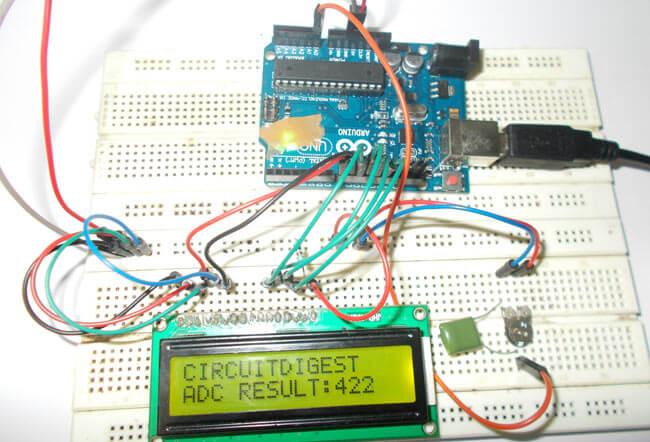 Внешний вид конструкции для использования АЦП в Arduino Uno