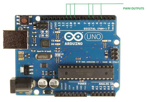 Контакты ШИМ на плате Arduino UNO