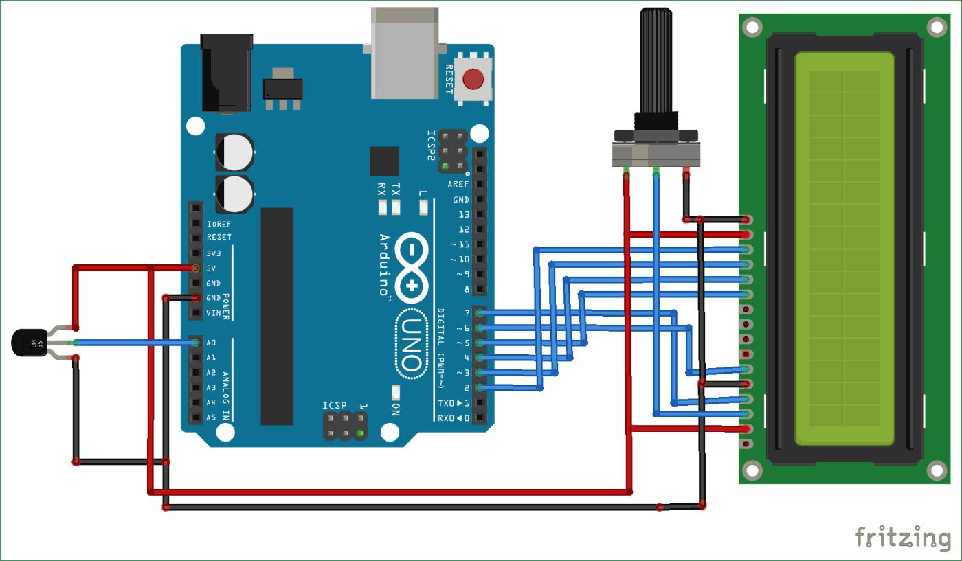 Схема цифрового термометра на Arduino и датчике температуры LM35