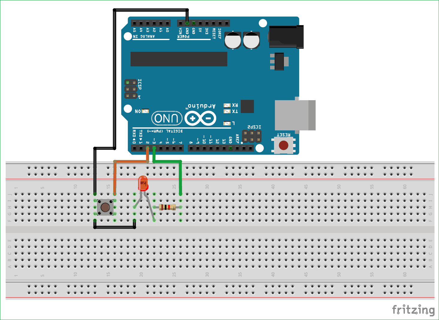 Простейшая схема на плате Arduino