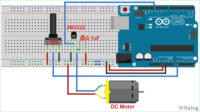 Схема управления скоростью вращения двигателя постоянного тока с помощью Arduino