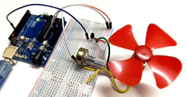 Управление скоростью вращения двигателя постоянного тока с помощью Arduino: внешний вид