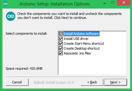 Опции установки Arduino IDE